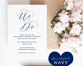 Navy Wedding Invitation Set, Printable Invitation Template, Navy Blue RSVP, Info Cards, Navy Blue Wedding, Beautiful Edit in WORD or PAGES