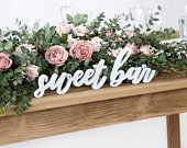 White Sweet Bar Wooden Sign, Candy Bar Sign, Rustic Wedding Decor, Country Wedding Decor, Wooden Wedding Signs, Candy Buffet