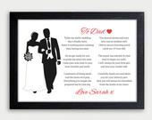 Father Wedding Gift Personalised Father of The Bride Gift Wedding Gift Dad Wedding Gift From Daughter Father Wedding Poem Keepsake