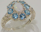 925 English Sterling Silver Natural Opal Blue Topaz Cluster Flower Ring, Promise Ring Made in England Customize:9K,14K,18K,Gold