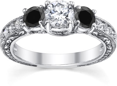 1 Carat White and Black Round-Cut Diamond Antique-Style Engagement Ring, 14K White Gold