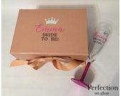 Rose Gold Medium Deep Bridesmaid gift box, personalised gift box, hen party box abd matching glitter glass, bride to be, prosecco queen
