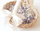 Flower girl basket with natural petal flower girl accessories biodegradable wedding confetti