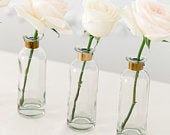 Tall Glass Bottle with Gold Detail, Wedding Table Centrepiece, Wedding Venue Decor, Flower Vase, Taper Candle Holder,