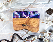 Cheese Board Gift with Purple Resin Art 21cm Rustic Olive Wood Cutting Board Wedding Gifts for Newlywed Couple