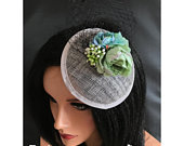 Black grey silver mint green flower hat fascinator hair clip races 40s flower fascinator hat wedding hair accessories church hat wedding fa