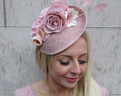 Blush Nude Pink Feather Flower Floral Disc Saucer Hat Fascinator Dusky Hair 6405