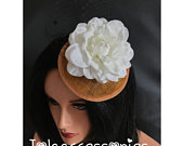 Black white gold flower hat fascinator hair clip races 40s flower fascinator hat wedding hair accessories church hat wedding fascinat