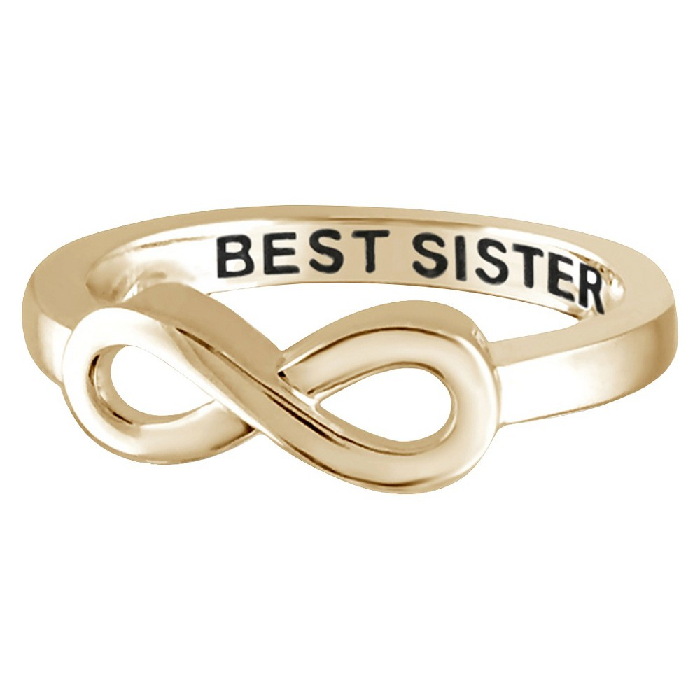 "Women's Sterling Silver Elegantly Engraved Infinity Ring with ""BEST SISTER"" - Yellow (6)"