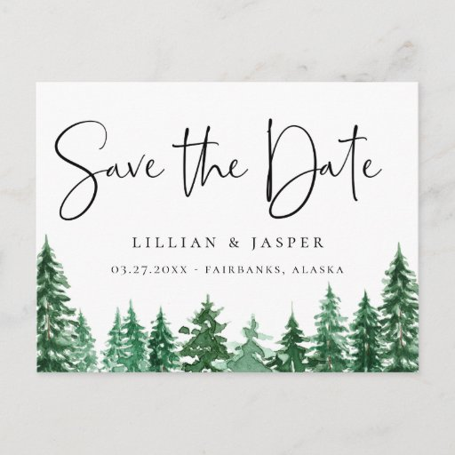Rustic Watercolor Forest Save the Date Announcement Postcard