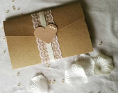 Emilia collection kraft and lace rustic style invites