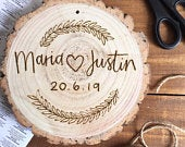 Personalised Wood Slice Wedding Gift / Present 2024cm pyrography, natural, wood art, home decor, gift, rustic