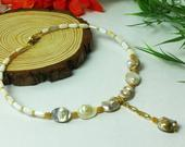 Mother of Pearl necklace with removable Gold Infinity Love pendant, Natural shell choker on the memory wire with Real Gold plated details