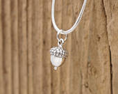 Sterling Silver Acorn Charm Lucky Pendant Necklace Gift Boxed Solid 925 Good Luck Tree Nature Wedding Favour Favor Bridal Mum Mom Daughter