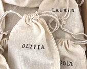 Personalised Cotton Gift Bag bridesmaid gift, wedding favour, party favours, rustic boho wedding, jewelry bag