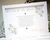 Personalised Mother of the Groom or Parents of the Groom poem print gift. Rustic, greenery, botanical, country wedding gift.