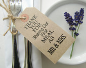 Rustic Wedding Napkin Holders, Mr and Mrs Wedding Table Decor, Thank You for Sharing Our First Meal