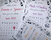 Mini Calendar Save or Change the Date cards for Wedding Day with Mini Illustrations