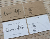 Personalised Save the Date Postcard Contemporary calligraphic design
