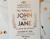 Classic White Foil Printed Save The Date, Rose Gold Wedding, Rose Gold, Simple Wedding, Elegant Wedding, Classic Wedding, Save The Date,