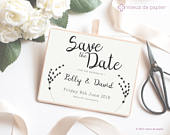 Elegant Calligraphy Save the Date DIY Wedding Template Download