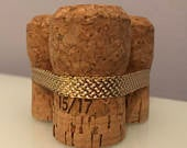 Champagne Cork Table Number Holder gold metalic ribbon