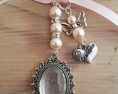 Wedding Bouquet Photo Charm Frame Silver Oval Photo Locket, Angel and Grandma Charm with Ivory Pearl Beads, and Gift Bag and Clear Cover