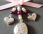 Wedding Bouquet Charm Photo Frame Charm Oval Silver Locket, mum charm, dad charm, pale pink and cranberry pearls and organza gift bag