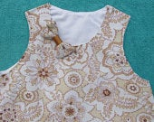 Retro Girls Floral Gold, Silver and Cream Party or Wedding Dress with decorative bow. Free UK P P.