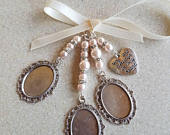 Wedding Bouquet Charm Photo Frame Triple Oval Silver Locket Bridal Charm, always in my heart charm, glass covers and organza gift bag