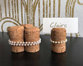 Table Number Holder Champagne Corks Pearls