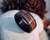 Wood Ring Fossilized Shark Tooth, Sycamore, Ebony Mahogany Made to order All US and UK Ring Sizes