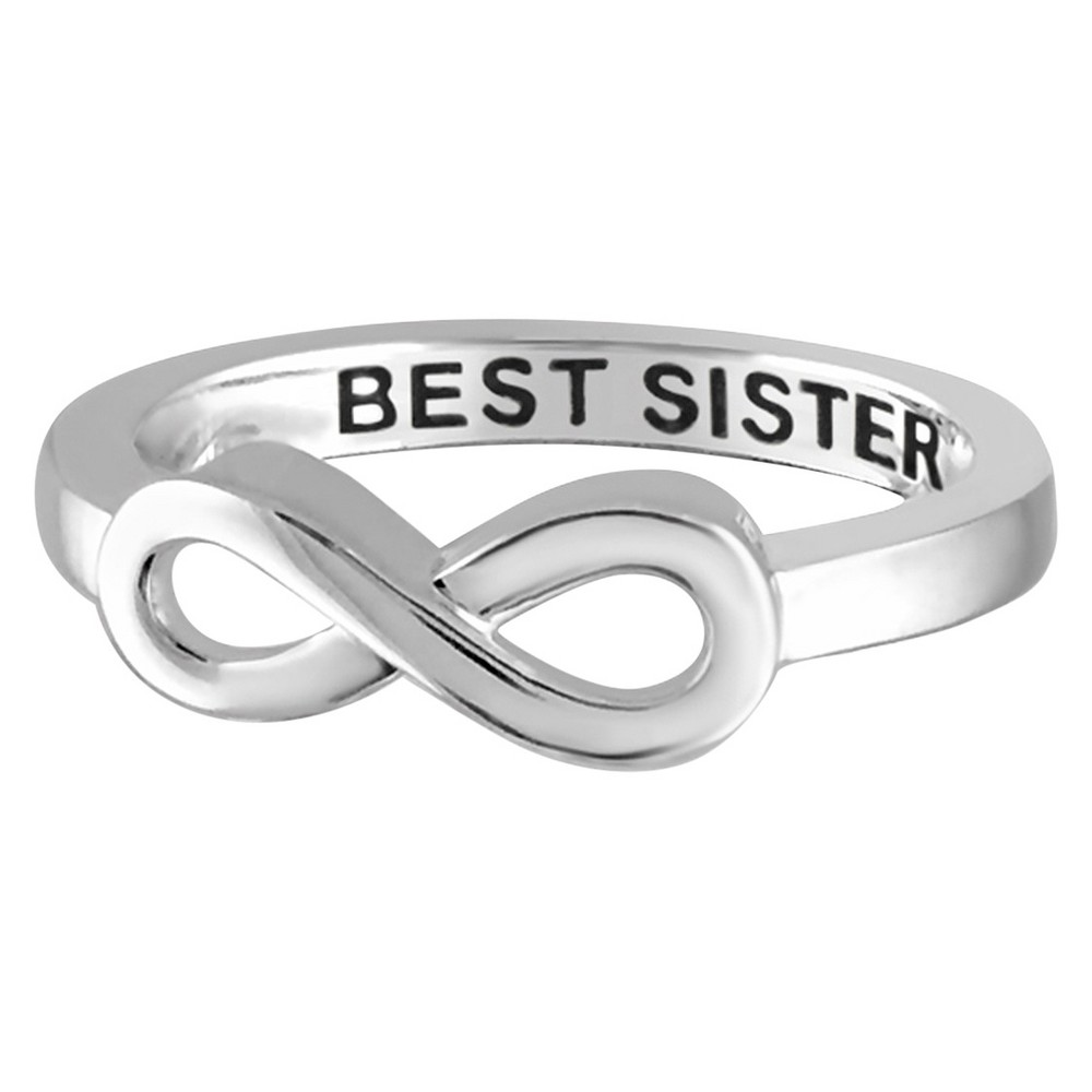 "Women's Sterling Silver Elegantly Engraved Infinity Ring with ""BEST SISTER"" - White (7)"