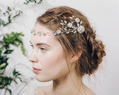 Grecian crystal flower bridal hair vine, silver boho floral wedding hair vine, silver crystal bohemian headband hair vine Cora