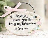 Personalised Thank you Bridesmaid gift salt dough ornament, Flower Girl gift Personalised rustic Wedding favors Bridal party, Wedding plaque