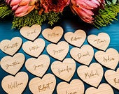 Personalised Place Names, Wedding Place Setting, Wooden Heart, Wood Place Name, Wedding Favours, Table Decor, Rustic Wedding Table Seating