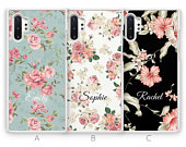 Personalised Samsung Galaxy Note 10 Case Note 10 Plus Case Custom Floral Flower Initials Name Samsung Case Rubber Phone Case Blue