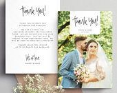 Double sided Wedding Thank You Cards With Photo, Thank You Wedding Cards, Personalised Thank You Cards, Thank You Photo Card, wedding 087