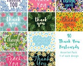 Pack of 10 Thank You Postcards with Brown Kraft Envelopes Assorted
