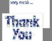 1100 Pack of Thank You Cards Postcards Notes Envelopes A6 Thankyou Floral Blue A6