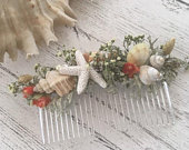 OntheBeach Hair Comb, Wedding Dried Flower and Shell Hair Comb, Natural Dried Flowers, FREE 2nd Class UK Postage