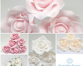 SUGAR ROSE FLOWERS wedding cake birthday cake topper decoration (wired) many colours multi buy pay 1 flat rate postage cost