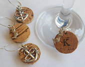 Nautical Anchor and Mermaid Wine Glass Charms Handmade Personalised Cork Wedding Favours, Hen party, Gifts, Sea or Beach occasions