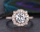 1.00ct Round Brilliant Cut Moissanite Engagement Ring, Vintage Design, Available in Rose, White, Yellow Gold or Platinum, 1.25carat Total