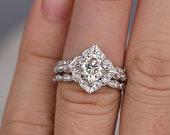 2.00ct Moissanite Ring Set, 3 Rings Total carat weight 2.00ct, Cushion Cut Vintage Design, Colour F, Clarity VVS, Centre Stone 1.25ct