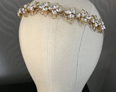 Gold Crystal bridal headband Diamante Alice band , Wedding headband , bridal tiara , bridesmaids accessory silver or gold
