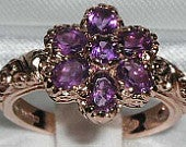 9K Rose Gold Natural Amethyst Engagement Ring, English Vintage Style Carved Ring, Art Nouveau Cluster Flower Ring Customizable