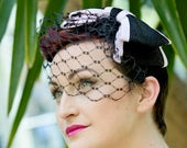 Black Birdcage Veil with Straw Bow, Black and Lilac Straw Bow with Birdcage Veil, Black Waffle Veiling Birdcage Veil, Short Birdcage Veil
