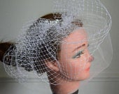 Blusher veil tulle with birdcage Beige/White