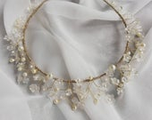 Frosted Flower Bead Pearl Gold Hairband Headpiece Crown Tiara Head band Bridal wedding Occasion